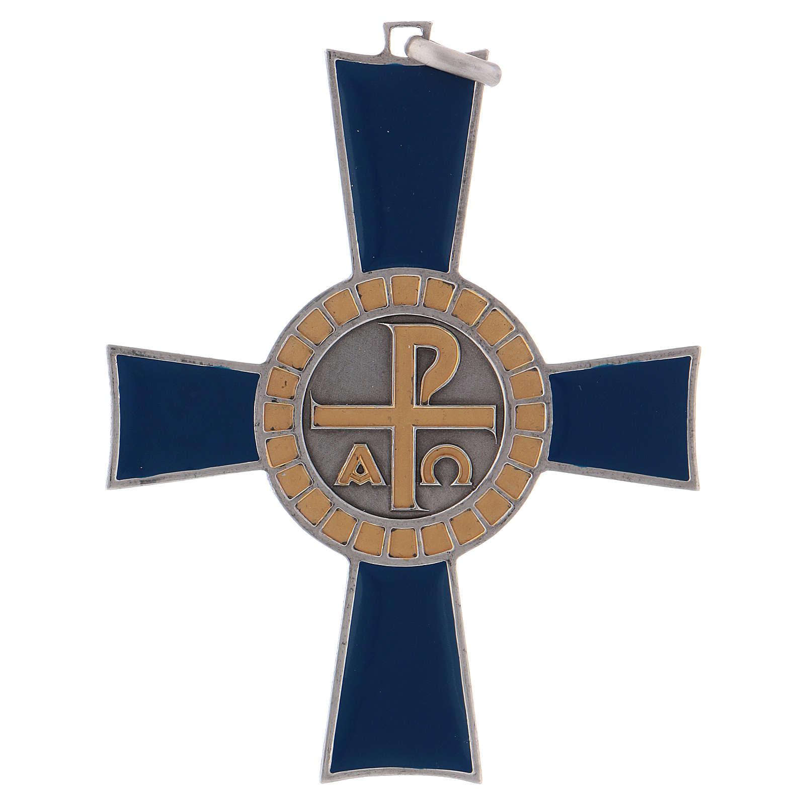 Croce pettorale Alfa e Omega argento 925 3