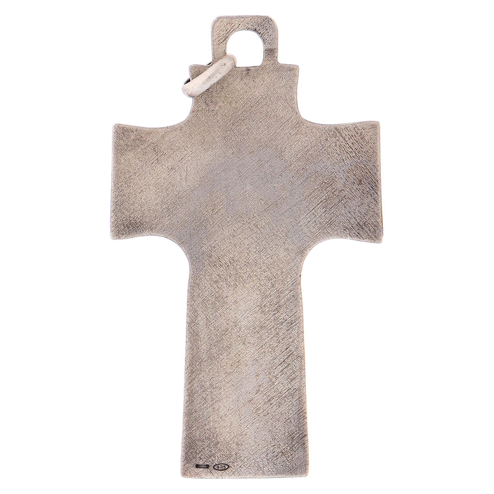 Cruz pectoral con piedra sólida natural plata 925 3