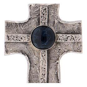 Cruz pectoral con piedra sólida natural plata 925 s2