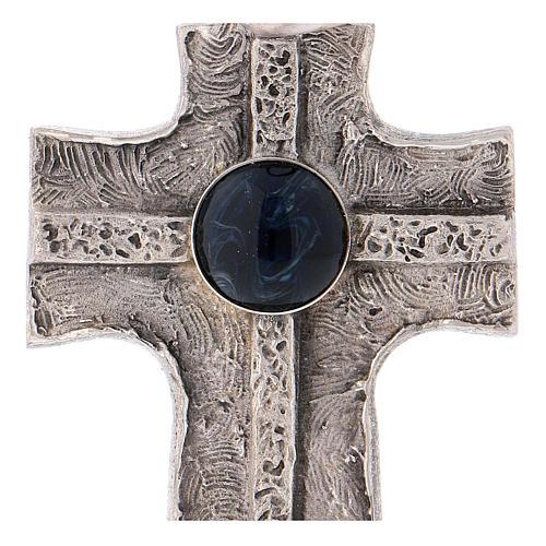 Cruz pectoral con piedra sólida natural plata 925 2
