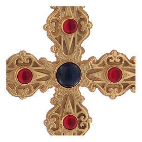 Croce pettorale con corniola e lapis argento 925 dorato s2