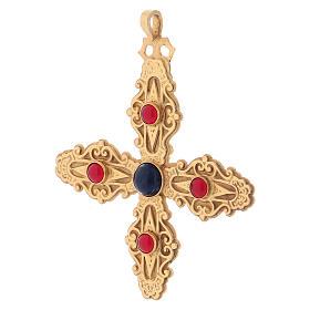 Croce pettorale con corniola e lapis argento 925 dorato s3