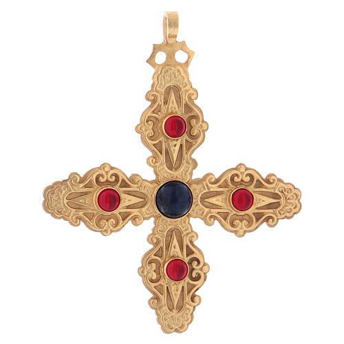Croce pettorale con corniola e lapis argento 925 dorato 1