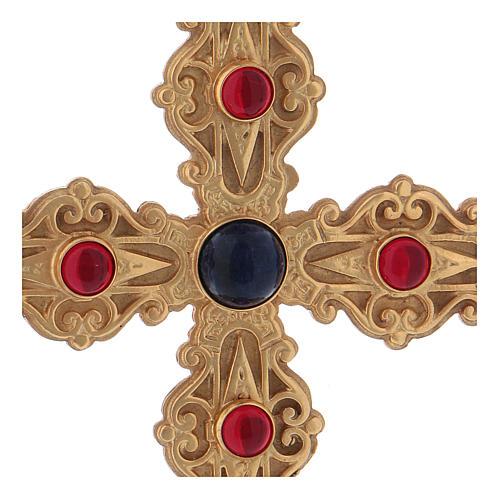 Croce pettorale con corniola e lapis argento 925 dorato 2