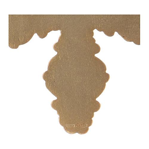 Croce pettorale con corniola e lapis argento 925 dorato 4