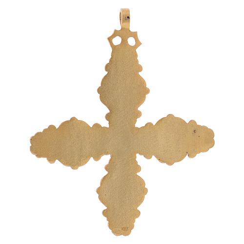Croce pettorale con corniola e lapis argento 925 dorato 5