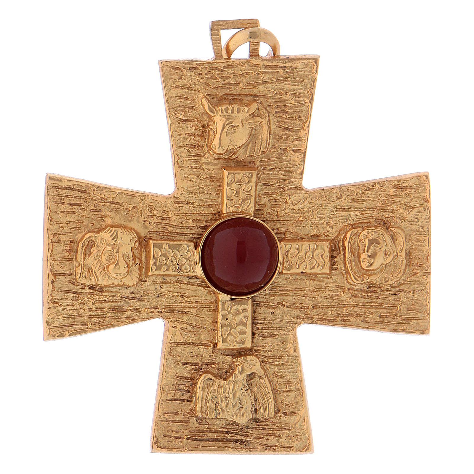 Croce pettorale dei quattro evangelisti argento 925 dorato 3