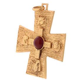 Croce pettorale dei quattro evangelisti argento 925 dorato s3