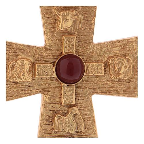 Croce pettorale dei quattro evangelisti argento 925 dorato 2