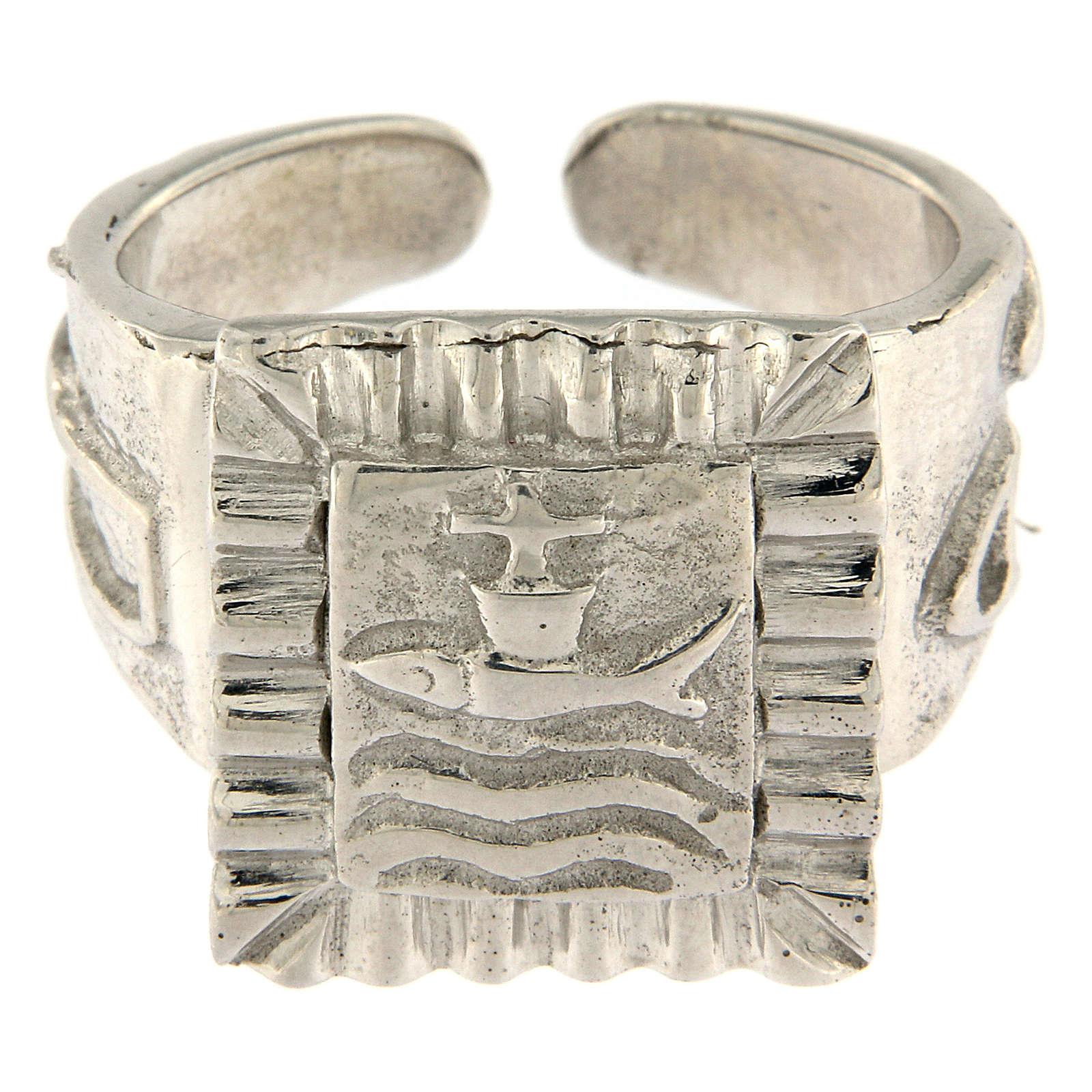 Anillo episcopal con pez plata 925 3