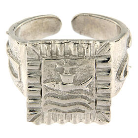 Bishop ring with fish in 925 silver s2