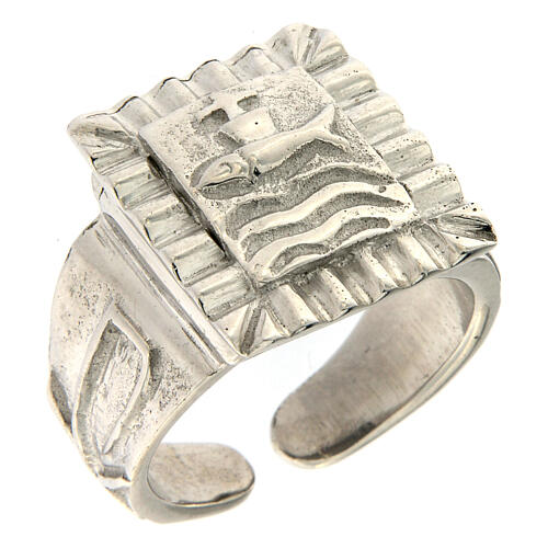 Bishop ring with fish in 925 silver 1