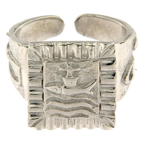 Bishop ring with fish in 925 silver 2