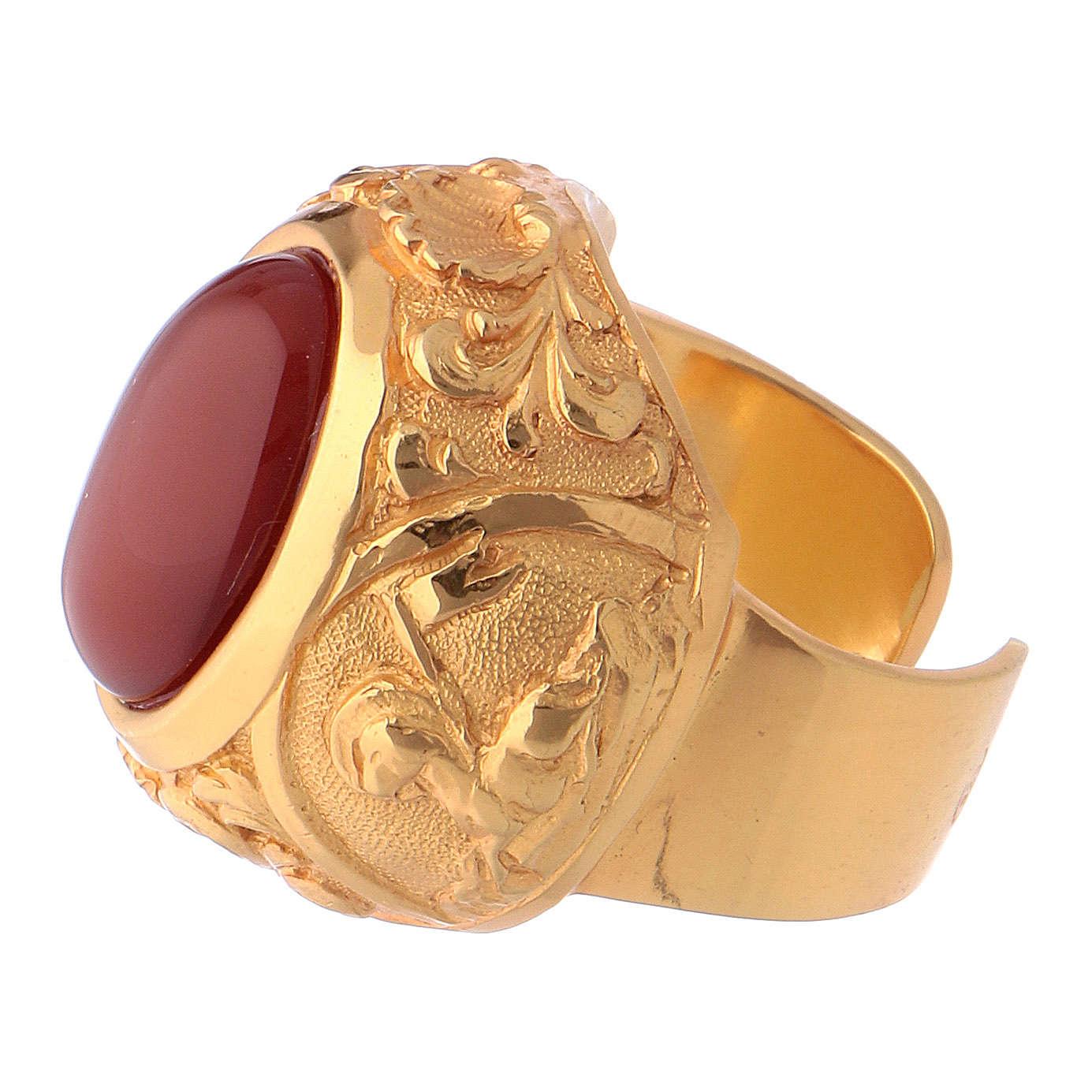 Bague épiscopale avec cornaline naturelle argent 925 doré 3