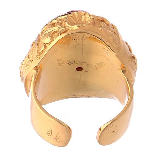 Bague épiscopale avec cornaline naturelle argent 925 doré 5