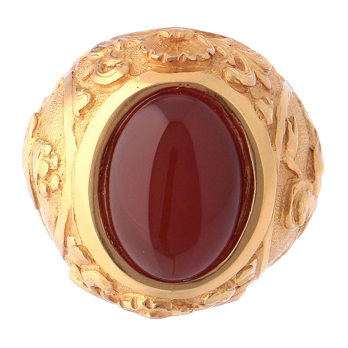 Anello vescovile con corniola naturale argento 925 dorato 3