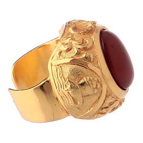 Anello vescovile con corniola naturale argento 925 dorato s4