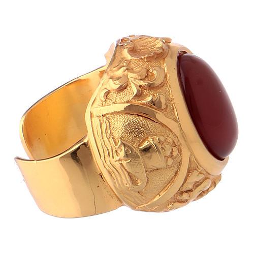 Anello vescovile con corniola naturale argento 925 dorato 4