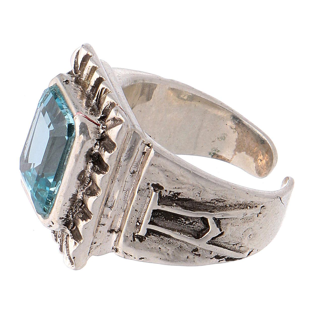 Anello vescovile con topazio sintetico argento 925 3