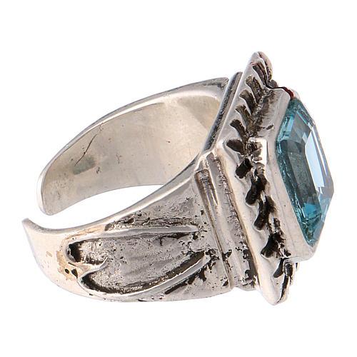Anello vescovile con topazio sintetico argento 925 4