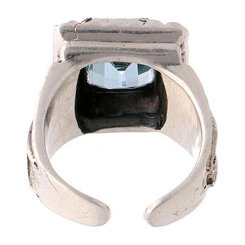 Anello vescovile con topazio sintetico argento 925 5