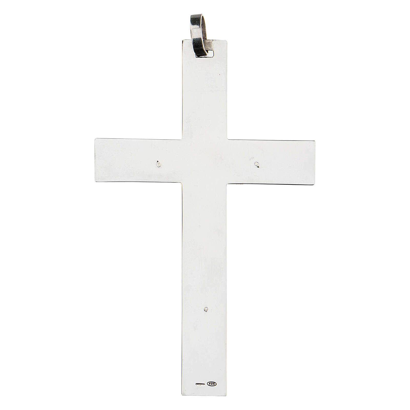 Croce classica pettorale 9 cm in argento 925 3