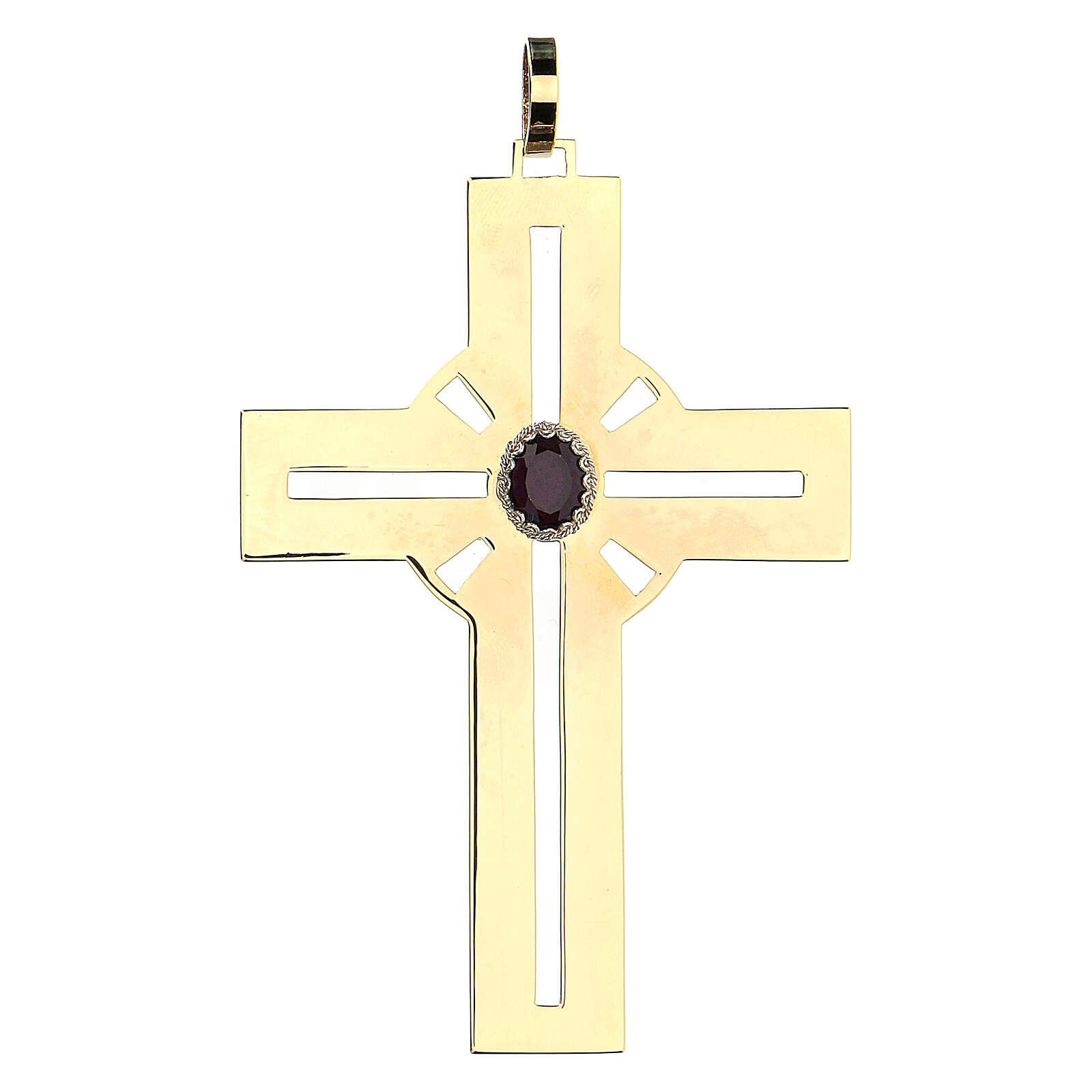 Croce pettorale dorata argento 925 pietra sintetica viola 3