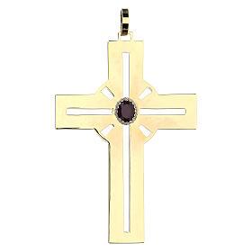 Croce pettorale dorata argento 925 pietra sintetica viola s1