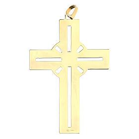 Croce pettorale dorata argento 925 pietra sintetica viola s2