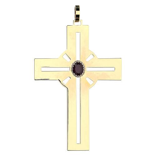 Croce pettorale dorata argento 925 pietra sintetica viola 1