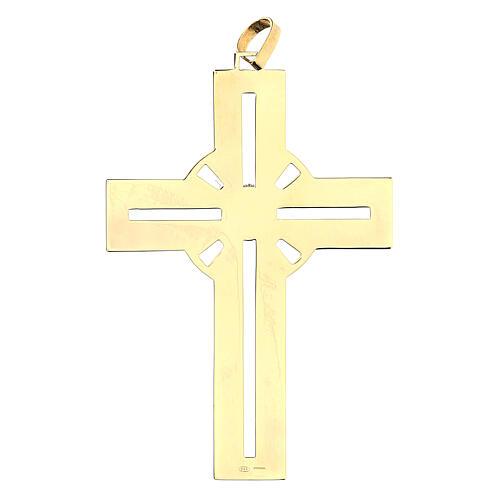 Croce pettorale dorata argento 925 pietra sintetica viola 2