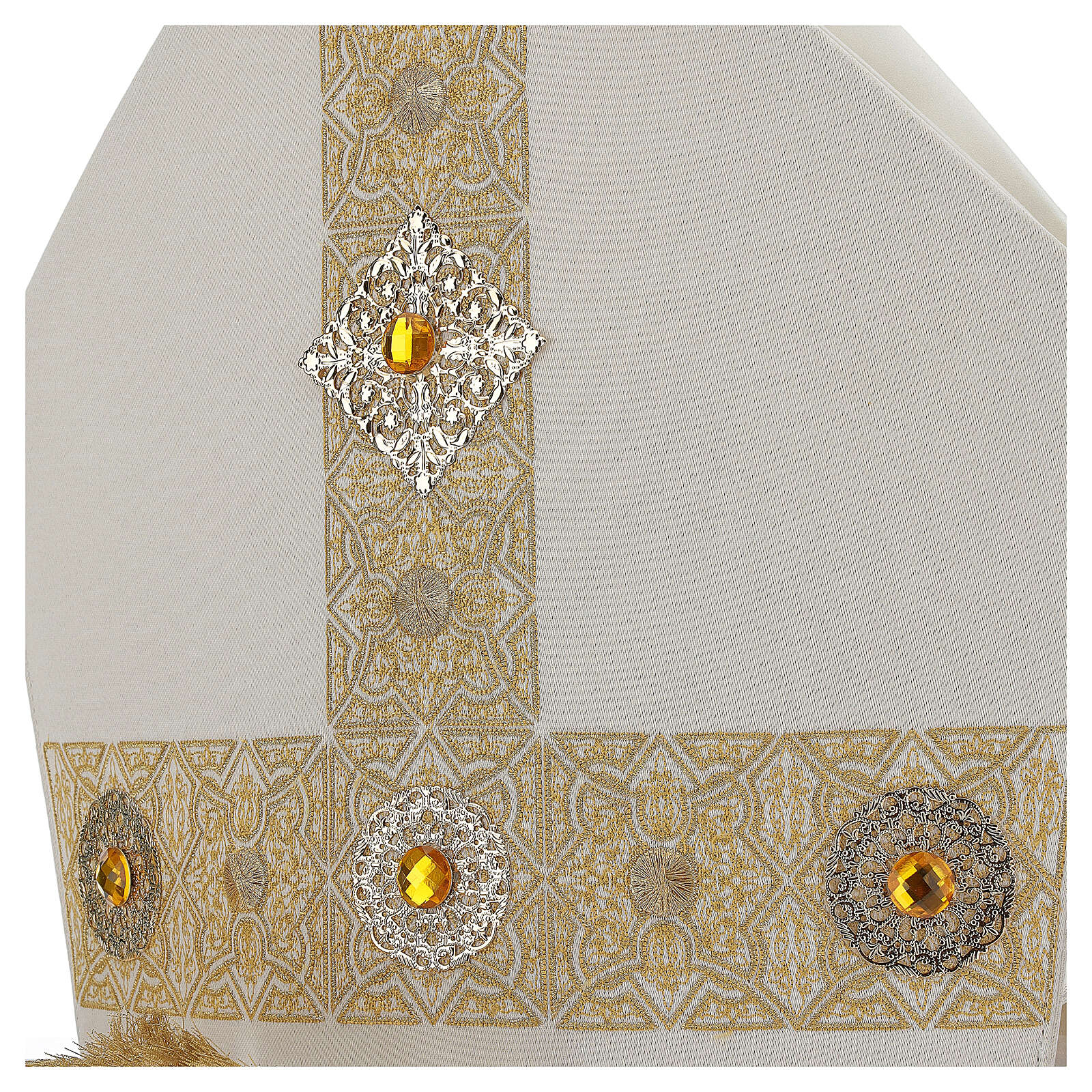Mitra con ricamo dorato écru Limited Edition 3
