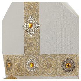 Mitra con ricamo dorato écru Limited Edition s3