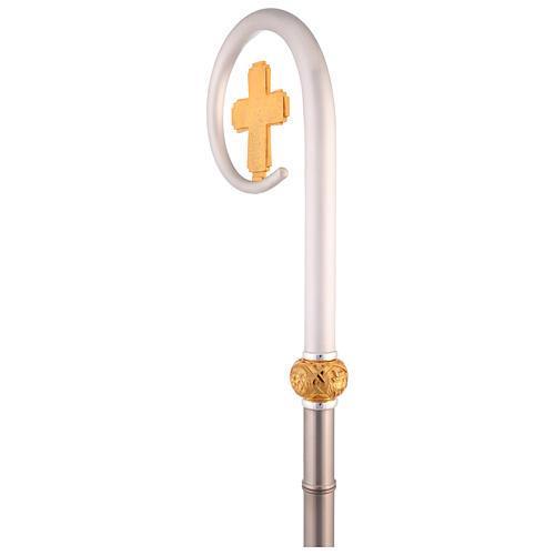 Crosse épiscopale vase Huile Sainte symbole croix 4 Évangélistes h 180 cm 3