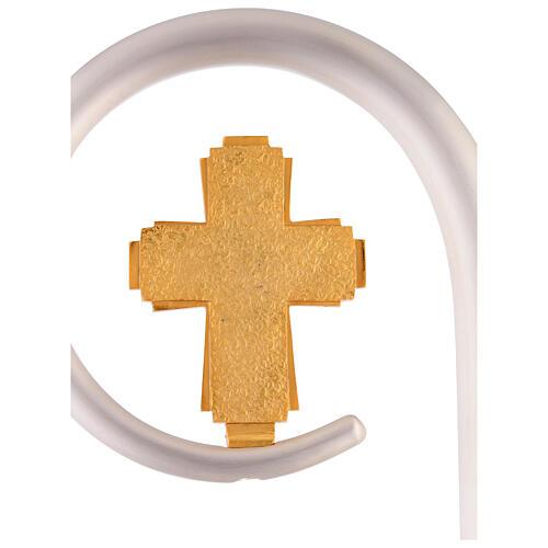 Crosse épiscopale vase Huile Sainte symbole croix 4 Évangélistes h 180 cm 5