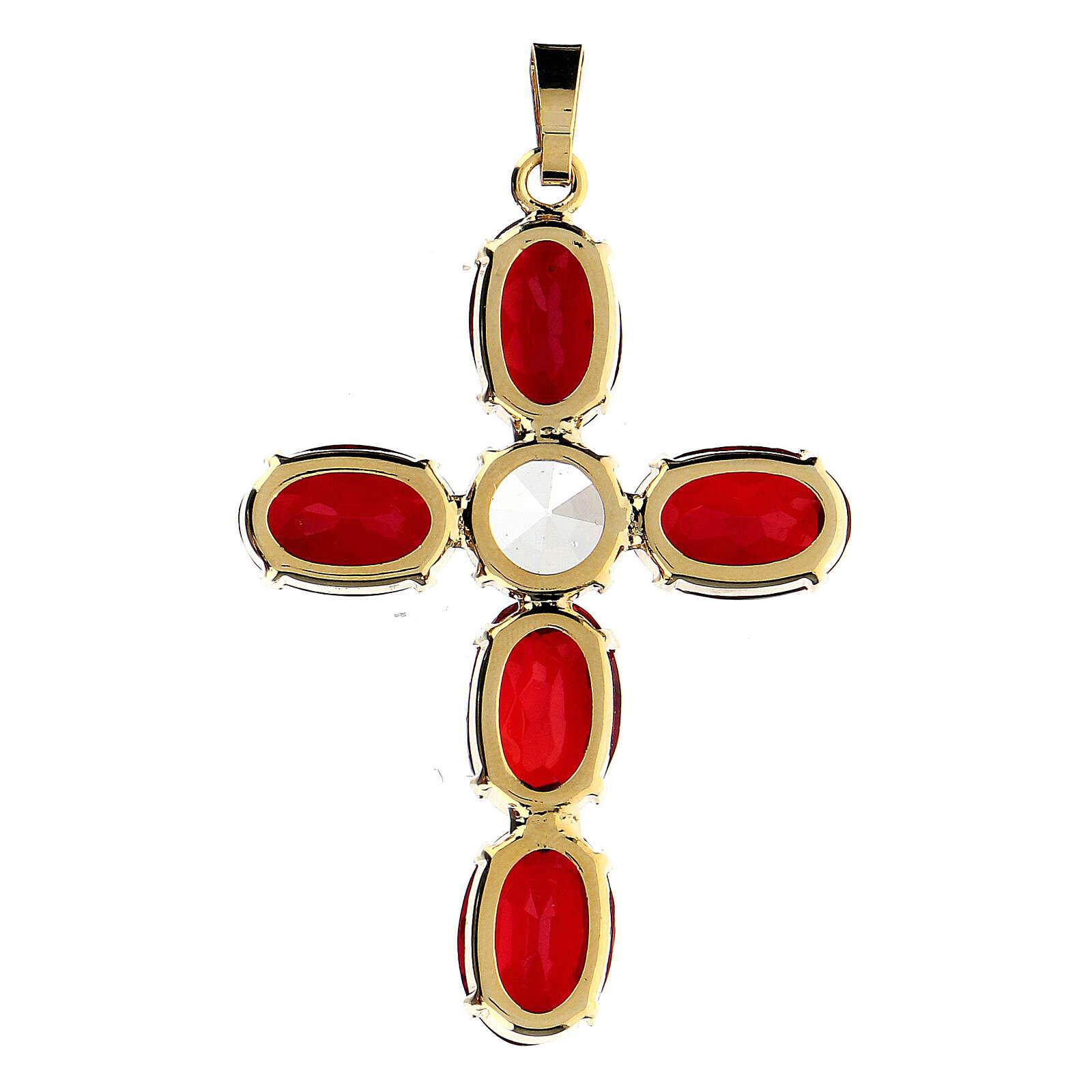 Cruz colgante engastada cristal ovalada rojo rubí 3