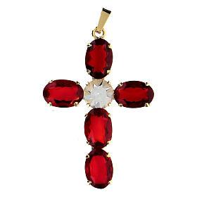 Cruz colgante engastada cristal ovalada rojo rubí s1