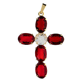 Croix pendentif cristal ovale serti rouge rubis s1