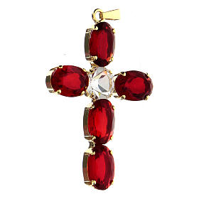 Croix pendentif cristal ovale serti rouge rubis s2