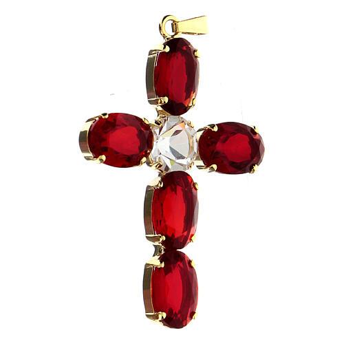 Croix pendentif cristal ovale serti rouge rubis 2
