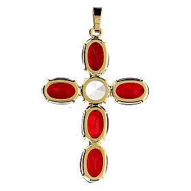 Croce pendente incastonata cristallo ovale rosso rubino s3