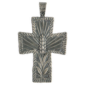 Cruz obispo plata 925 espigas rayos 9x7 cm s1