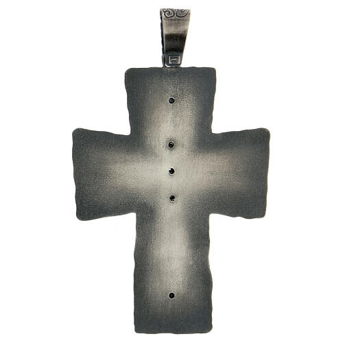 Cruz obispo plata 925 espigas rayos 9x7 cm 5