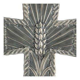 Croce vescovo argento 925 spighe raggi 9x7 cm s2