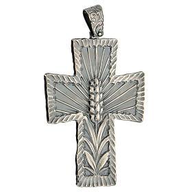 Croce vescovo argento 925 spighe raggi 9x7 cm s3