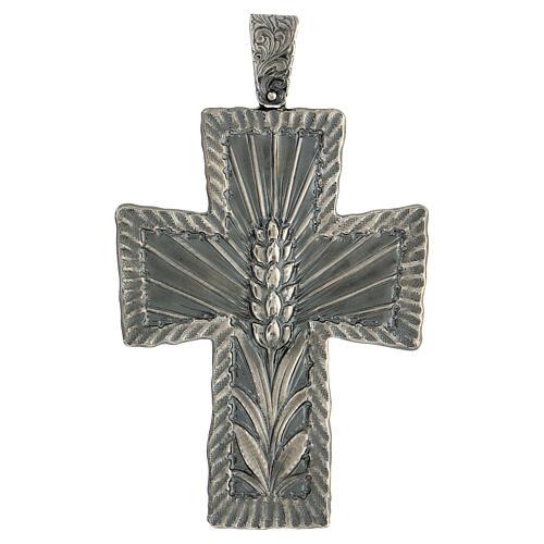 Croce vescovo argento 925 spighe raggi 9x7 cm 1