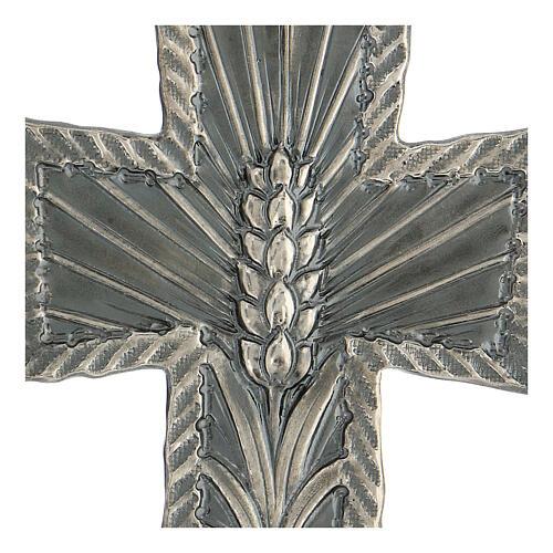 Croce vescovo argento 925 spighe raggi 9x7 cm 2