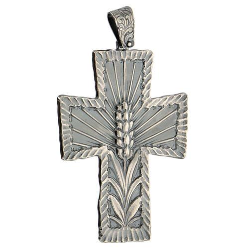 Croce vescovo argento 925 spighe raggi 9x7 cm 3