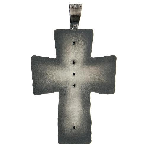 Croce vescovo argento 925 spighe raggi 9x7 cm 5