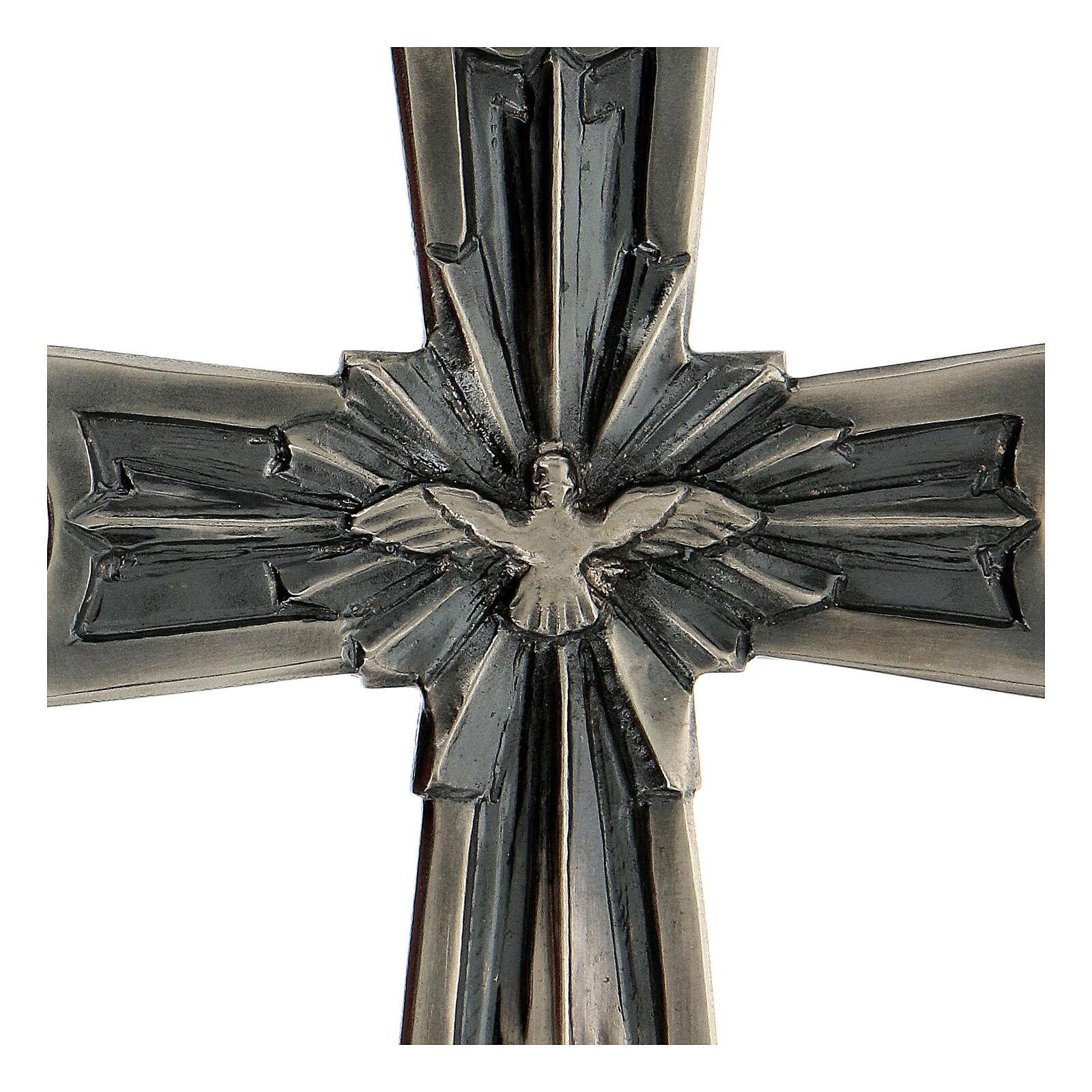 Cruz pectoral obispo plata 925 Espíritu Santo relieve 3